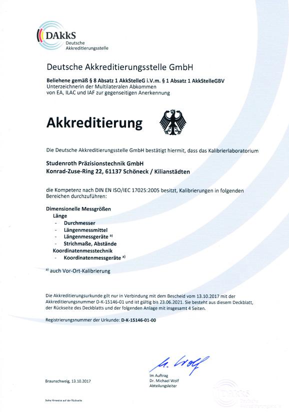 DAkkS Akkreditierung Kalibrierung Studenroth