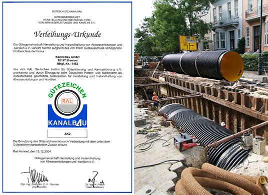 Gütezeichen für Herstellung und Instandhaltung von Abwasserleitungen und Abwasserkanälen