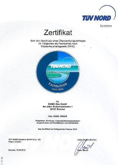 TÜV Zertifikat über den Abschluss eines Überwachungsvertrages für Tätigkeiten als Fachbetrieb nach Wasserhaushaltsgesetz