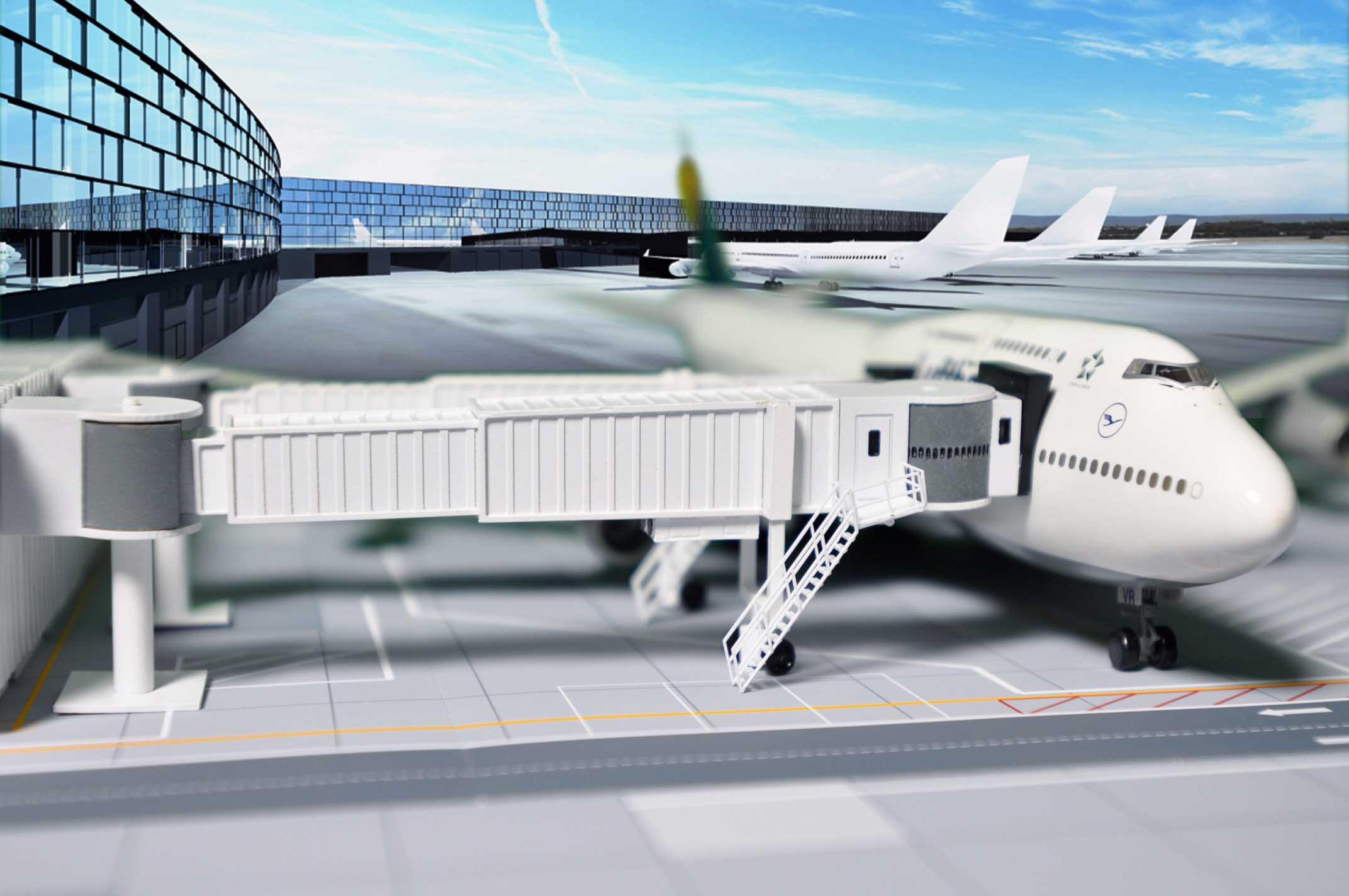 Fluggastbrücke als Flughafenzubehör für Modellflugzeuge