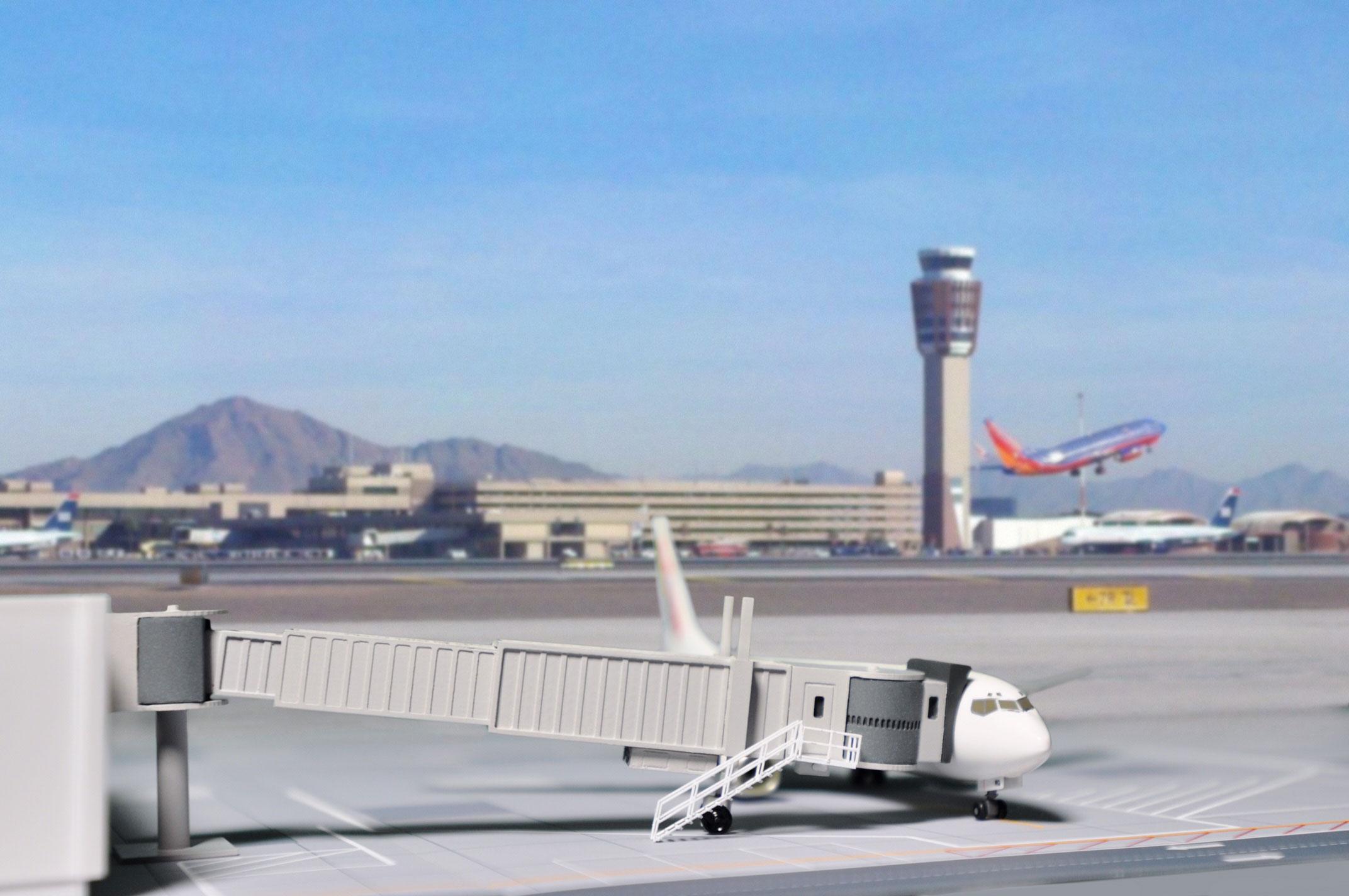 Fluggastbrücke Modell 1:200 als Airport Accessories