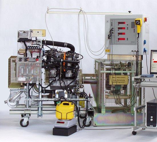 PKW-Motor an Motorleistungsprüfstand MP(L) 100 S mit luftgekühlter Wirbelstrombremse