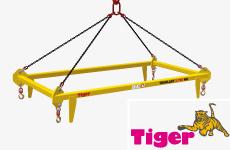 Rahmen-Spreiztraverse mit einer 4-Strang-Kettenaufhängung und 4 Wirbellasthaken