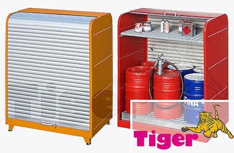 Gefahrstoff-Rolladenschrank RSG - Lagerung von Fässer (60 / 200 Liter) und Kleingebinden