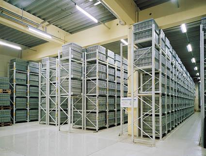 Einplatz-Regal, OMEGA-Regalsystem, individuelle Höheneinteilung für jeden einzelnen Palettenplatz