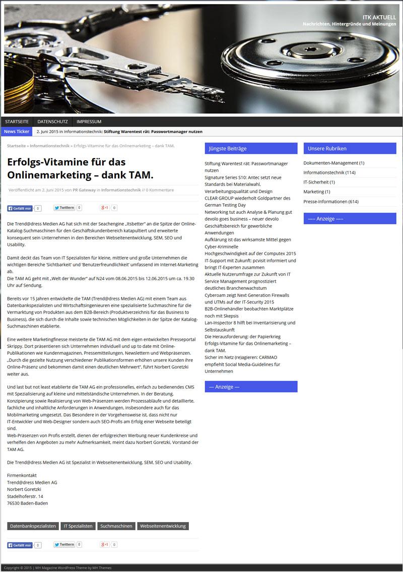 Pressenachricht Computerwissen Aktuell: Onlinemarketing, Onpage- und Offpage-Optimierungen, Presseportale, Webpräsenzen