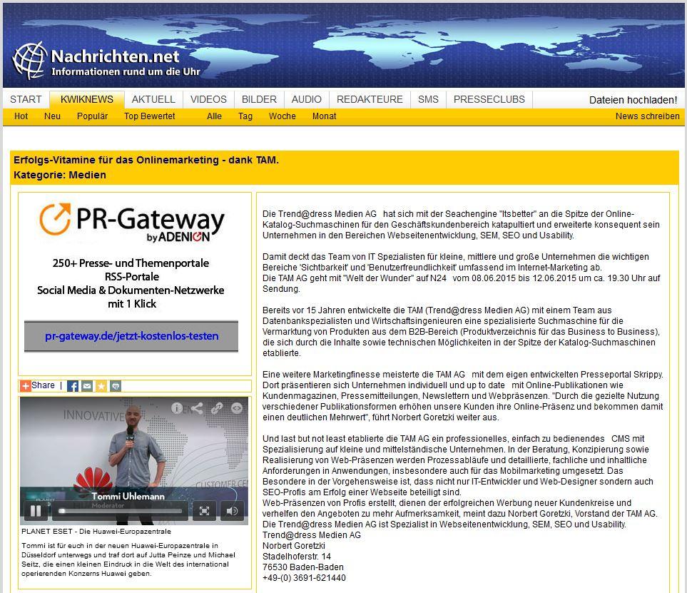 Pressenachricht Nachrichten.net: Erfolgreiches Online-Marketing mit der TAM AG