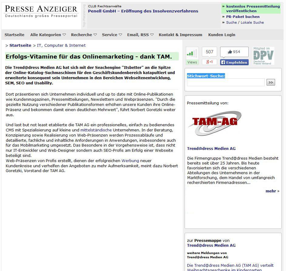 Pressenachricht Presseanzeiger: Erfolgreiches Onlinemarketing mit der TAM AG. SEO, Onpage- und Offpage-Optimierungen